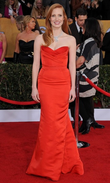 19th Annual Screen Actors Guild Awards..Shrine Auditorium, Los Angeles, CA..January 27, 2013..Job: 130127A1..(Photo by Axelle Woussen)..Pictured: Jessica Chastain.