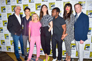 Drew Goddard, Manny Jacinto, Ted Danson, Kristen Bell, Michael Schur, D'Arcy Carden, William Jackson Harper, Jameela Jamil and Marc Evan Jackson are seen attending 'The Good Place' Photo Call during Comic-Con International at Hilton Bayfront in San Diego, California.