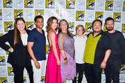 Camryn Manheim, Michael Ealy, Cobie Smulders, Tantoo Cardinal, Cole Sibus, Adrian Martinez and Jake Johnson are seen at the press line for 'Stumptown' panel at 2019 Comic-Con International - Day 1 in San Diego, California.