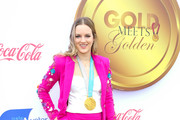 Cassie Sharpe is seen arriving at the 6th annual Gold Meets Golden party hosted by Nicole Kidman and Nadia Comaneci at The House on Sunset in Los Angeles, California.