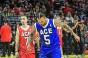 Chris Brown is seen attending Ace Family Chris Brown Basketball Charity Event at Staples Center in Los Angeles, California.