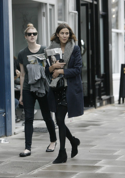 Fashionista and model Alexa Chung is seen enjoying lunch with a friend at the uber trendy Troyka Russian restaurant in Primrose Hill.