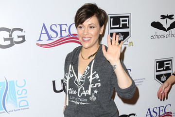 Alyssa Milano Celebrities Attend the Luc Robitaille Celebrity Shootout at Toyota Sports Center