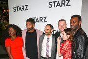 Yetide Badaki, Ricky Whittle, Omid Abtahi, Bruce Langley, Emily Browning and Demore Barnes are seen attending the 2019 Winter TCA Tour - STARZ 'American Gods' Premiere at 71Above in Los Angeles, California.