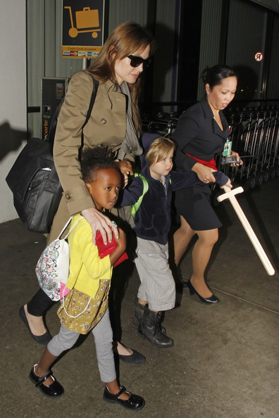 Angelina Jolie with Her Kids at LAX