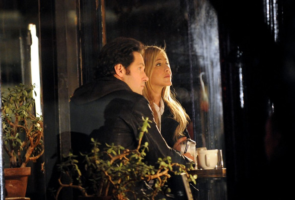 Jennifer Aniston and Paul Rudd film 'Wanderlust' inside a restaurant in the West Village.