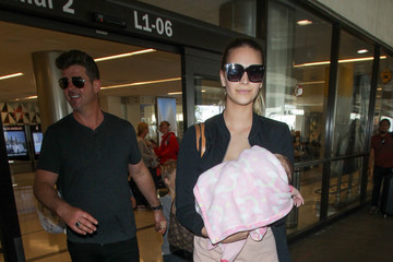 April Love Geary Robin Thicke At LAX