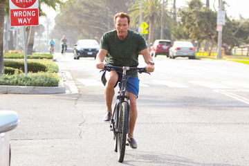 Arnold Schwarzenegger Arnold Schwarzenegger Goes For A Morning Ride