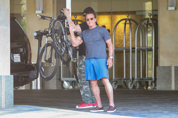 Arnold Schwarzenegger Arnold Schwarzenegger Goes For a Bike Ride