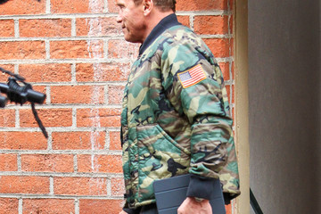 Arnold Schwarzenegger Arnold Schwarzenegger Walks With a Boot Cast
