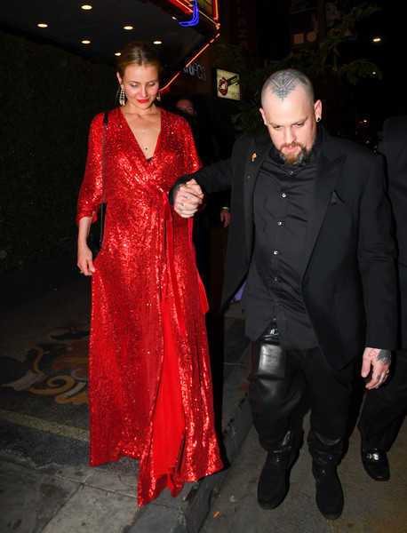 Cameron Diaz And Benji Madden Are Seen Out In Los Angeles [film,fashion,lady,flooring,dress,event,outerwear,formal wear,carpet,haute couture,costume,cameron diaz,benji madden,actor,lady,celebrity,fashion,flooring,california,los angeles,cameron diaz,benji madden,actor,die mutter und ihr erstes kind,hollywood,livingly media,celebrity,film,the mask,theres something about mary]