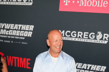 Bruce Willis VIP Pre-Fight Party Arrivals on the T-Mobile Magenta Carpet for Mayweather VS McGregor