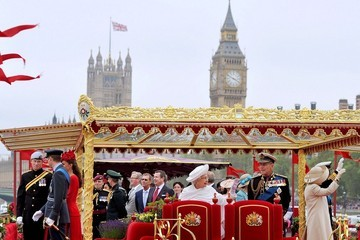 Harry Prince of Wales Catherine in red for the River Pageant
