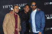 Affion Crockett, Marlon Wayans and Damon Wayans Jr are seen attending the premiere of 'Fifty Shades of Black' at Regal Cinemas L.A. Live.