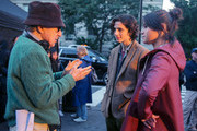 Woody Allen, Timothee Chalamet and Selena Gomez are seen on the movie set of the 'Untitled Woody Allen Project'.
