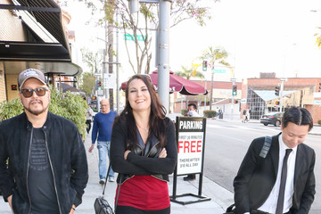 Chee Keong Cheung Katarina Waters outside The Palm Restaurant in Beverly Hills