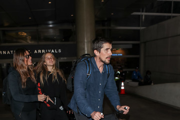 Christian Bale Christian Bale And His Family Visit LAX