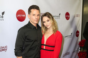 Kelley Jakle and Mark Hapka are seen attending 'Christmas Harmony' Premiere at Harmony Gold Theatre in Los Angeles, California.