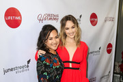 Nanea Miyata and Kelley Jakle are seen attending 'Christmas Harmony' Premiere at Harmony Gold Theatre in Los Angeles, California.