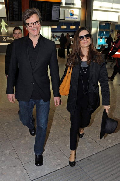 livia giuggioli and colin firth. Colin Firth and Livia Giuggioli - Colin Firth at Heathrow with Livia
