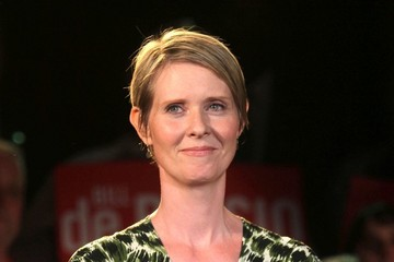 Cynthia Nixon Bill De Blasio's Victory Rally in NYC