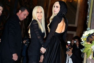 Donatella Versace Lady Gaga Arrivals at the Versace Haute Couture Show