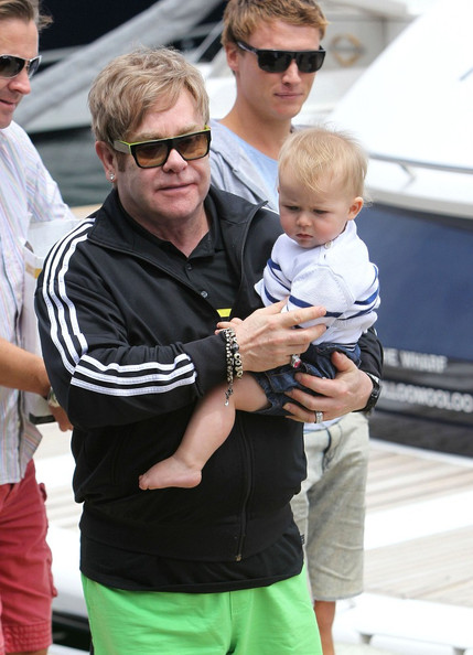 Photo of Elton John & his  Son  Zachary Jackson
