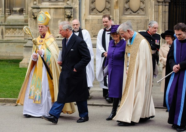 21st March, 2013:  The Archbishop of Canterbury Most Reverend Justin Welby (left) with  the Prince of Wales, the Duchess of Cornwall and the Dean of the Cathedral the Very Reverend Robert Willis outside Canterbury Cathedral, in Canterbury, Kent, following a service marking his enthronement.