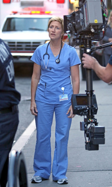 "Edie Falco films in scrubs for her Showtime hit ""Nurse Jackie""."