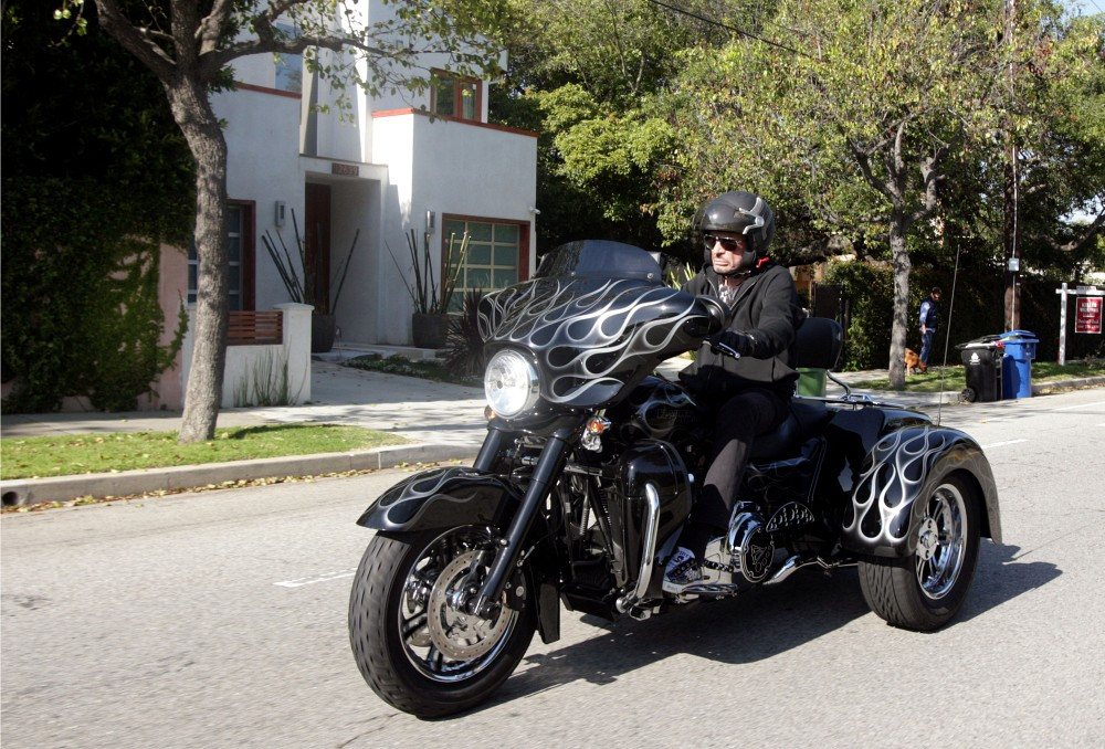 johnny hallyday rides his motorcycle zimbio. Black Bedroom Furniture Sets. Home Design Ideas