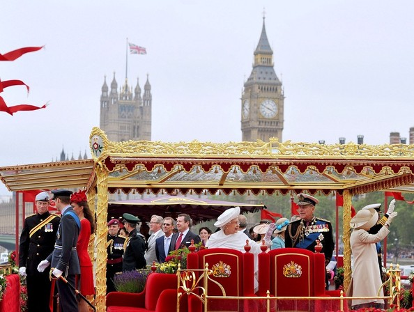 Catherine in red for the River Pageant
