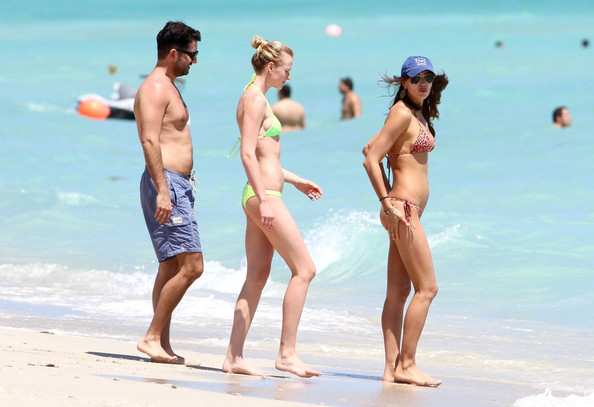 Irina Shayk Irina Shayk wears a leopard print thong bikini as she and and ...