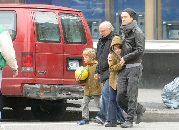 Jude Law Walks with His Kids