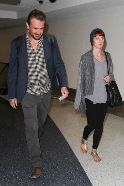 Jason Segel and Alexis Mixter are seen at LAX
