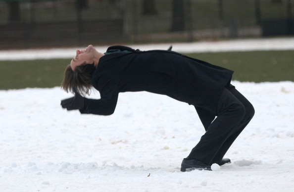 "Jim Carrey defies gravity while filming scenes in the snow for ""Mr. Popper's Penguins"" in Central Park."