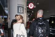 Jim Toth and Ava Phillippe are seen at Los Angeles International Airport.
