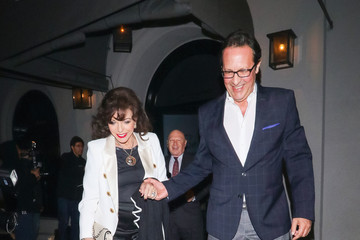 Joan Collins Percy Gibson Joan Collins And Percy Gibson Outside Craig's Restaurant In West Hollywood