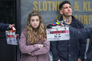 Jon Bernthal and Giorgia Whigham are seen on the movie set of the Marvel's 'The Punisher' in Douglaston.
