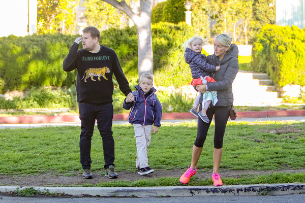 James Corden and wife Julia Carey in day out with their children
