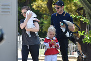 Kate Mara and Jamie Bell with the kids.