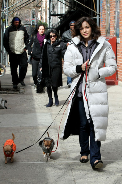 "Katharine McPhee Katharine McPhee and Megan Hilty stay warm on the set of their upcoming TV movie, ""Smash.""   ."