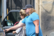 Maria Shriver and her son, Christopher Schwarzenegger are seen in Los Angeles, California.