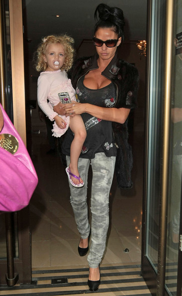 Katie Price and Her Daughter Leave the Mayfair Hotel