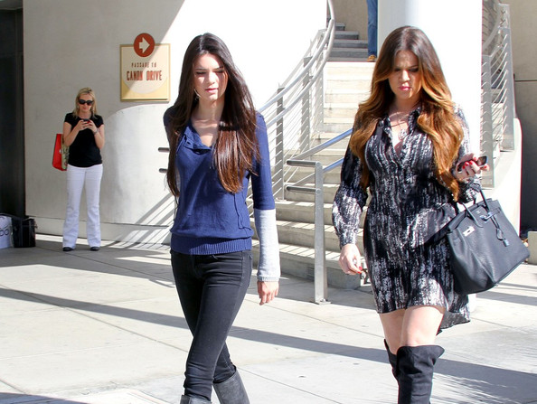 Kendall Jenner Khloe Kardashian and her sister Kendall Jenner stroll through Beverly Hills before heading to The Childrens' Hospital. The pair were fiming scenes for E!'s 'Keeping up with the Kardashians.'.