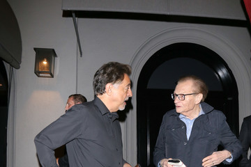 Larry King Joe Mantegna and Larry King Outside of Craig's Restaurant in Beverly Hills