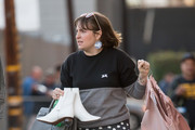 Lena Dunham is seen at 'Jimmy Kimmel Live' in Los Angeles, California.