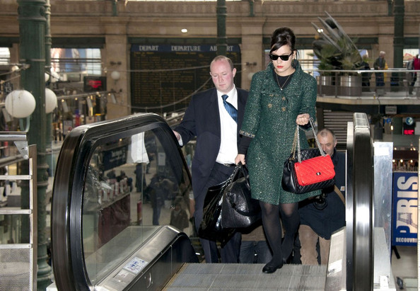 Lily Allen catches the Eurostar back to London at the Gare du Nord station.