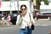 Lucy Hale Gets A Coffee In The City