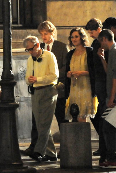 Marion Cotillard Woody Allen directs Marion Cotillard, Alison Pill and Owen Wilson on the set of 'Midnight in Paris' at Maxim's.