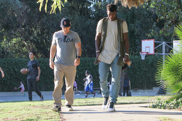 Mark Wahlberg Jimmy Butler and Mark Wahlberg Hang out at a Soccer Match